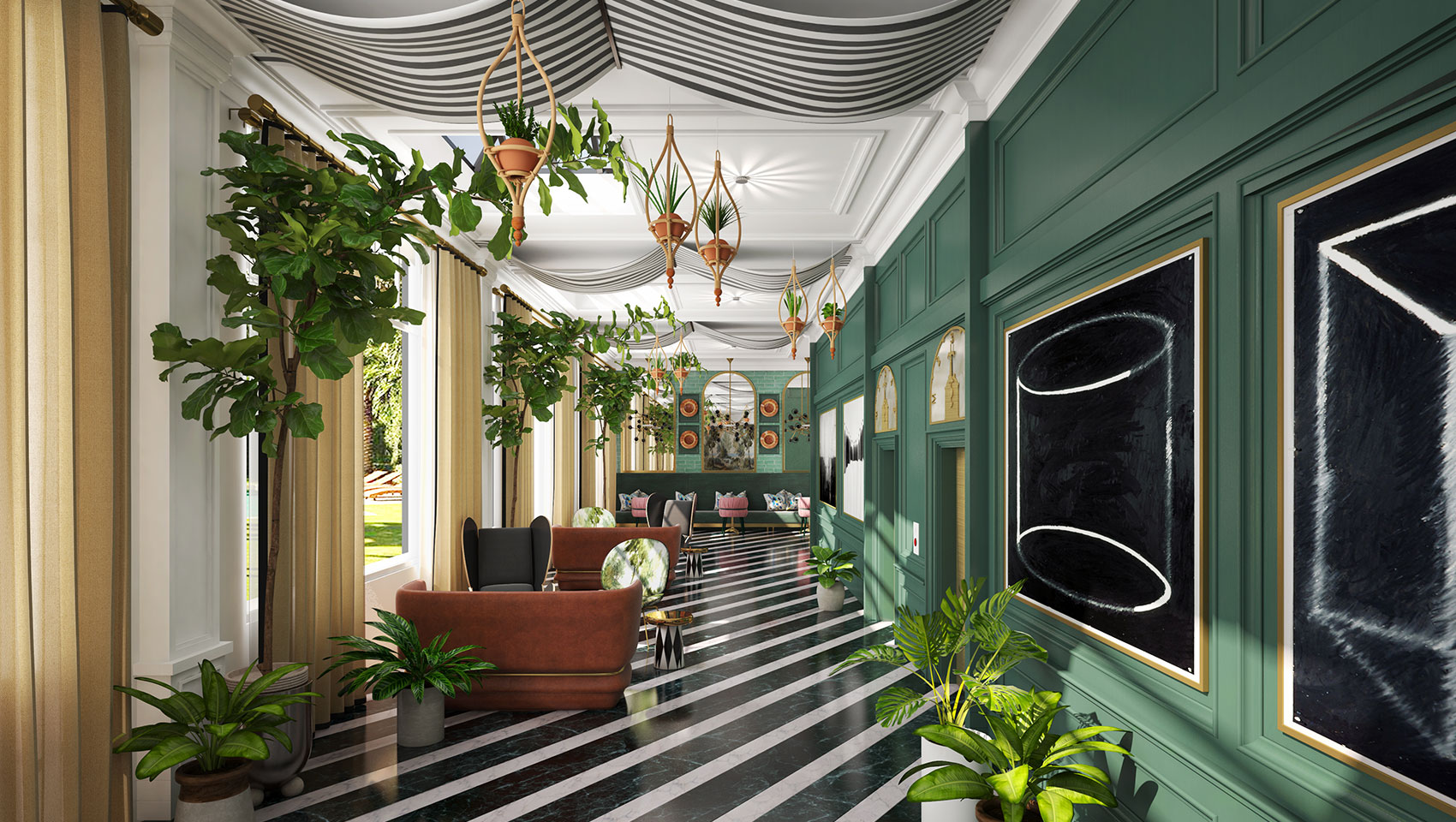 garden lounge hallway with white and black floor and green walls